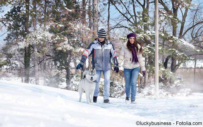 Paar beim Winterspaziergang